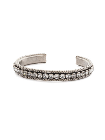 Channeling Chic Cuff Bracelet in Antique Silver-tone Crystal