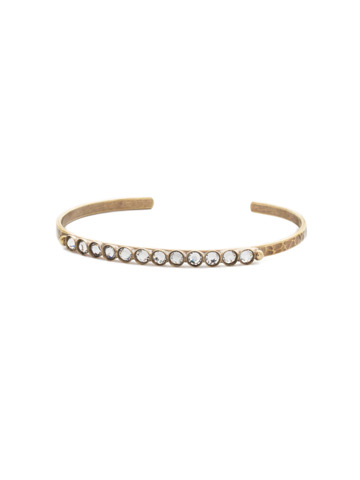 Dotted Line Cuff Bracelet in Antique Gold-tone Crystal