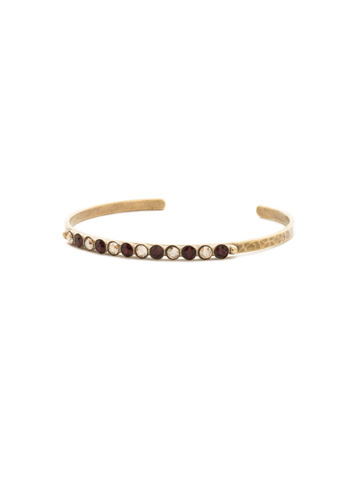 Dotted Line Cuff Bracelet in Antique Gold-tone Mighty Maroon