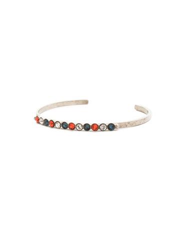 Dotted Line Cuff Bracelet in Antique Silver-tone Battle Blue
