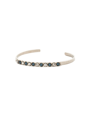 Dotted Line Cuff Bracelet in Antique Silver-tone Glory Blue