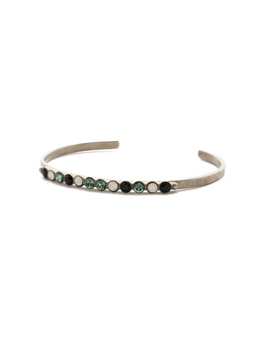 Dotted Line Cuff Bracelet in Antique Silver-tone Game Day Green
