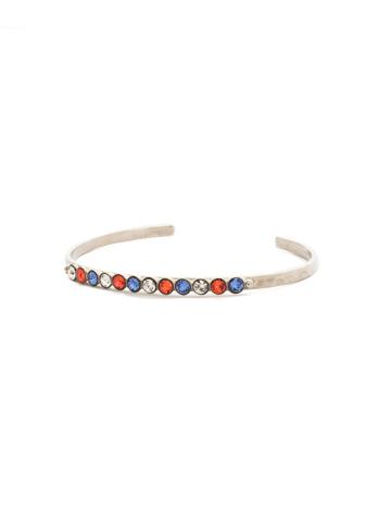 Dotted Line Cuff Bracelet in Antique Silver-tone Orange Crush