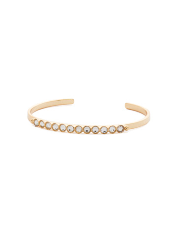 Dotted Line Cuff Bracelet in Bright Gold-tone Crystal