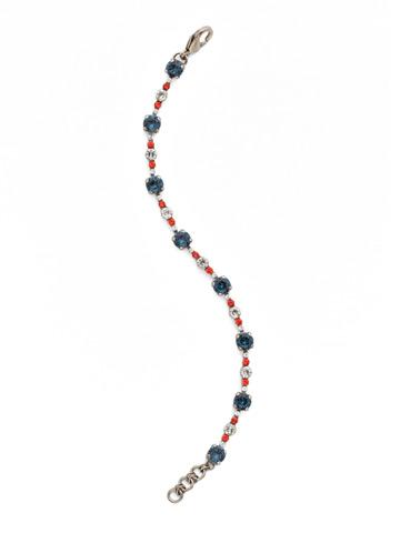 Connect the Dots Bracelet in Antique Silver-tone Battle Blue