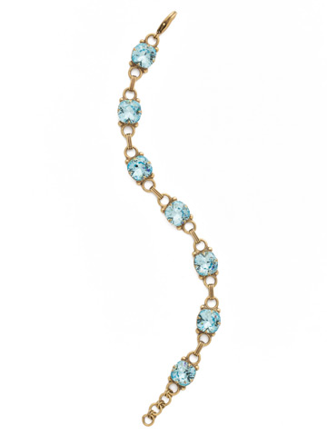 Eyelet Line Bracelet in Antique Gold-tone Aquamarine