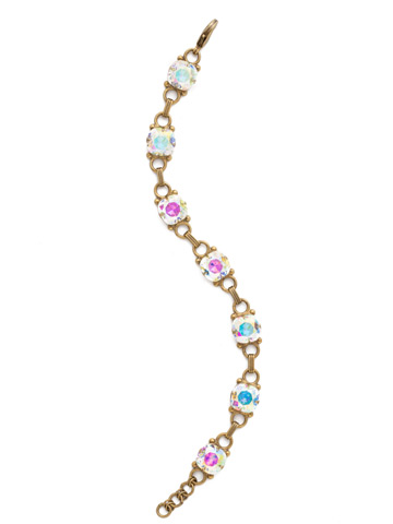 Eyelet Line Bracelet in Antique Gold-tone Crystal Aurora Borealis