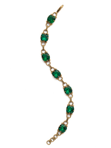 Eyelet Line Bracelet in Antique Gold-tone Emerald