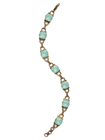 Eyelet Line Bracelet in Antique Gold-tone Pacific Opal