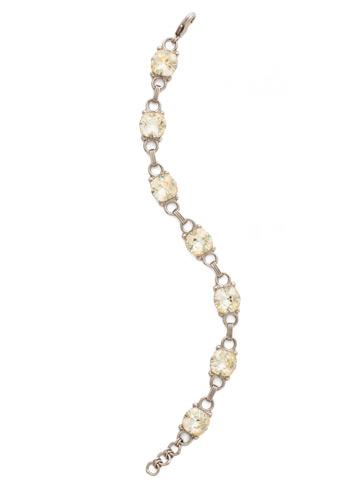 Eyelet Line Bracelet in Antique Silver-tone Crystal Champagne