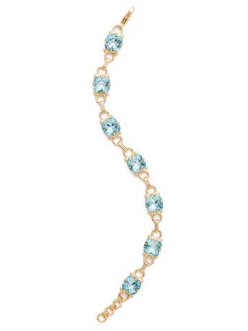 Eyelet Line Bracelet in Bright Gold-tone Aquamarine