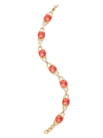 Eyelet Line Bracelet in Bright Gold-tone Coral