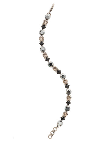 Darling Diamond Tennis Bracelet in Antique Silver-tone Black Onyx