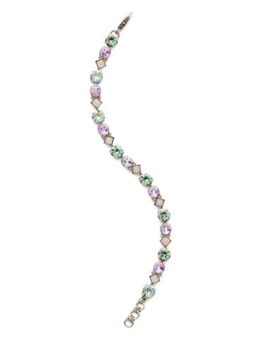 Darling Diamond Tennis Bracelet in Antique Silver-tone Lilac Pastel