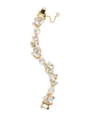 Radiant Vine Bracelet in Bright Gold-tone Crystal