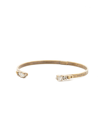 Simple Styling Open Cuff Bracelet in Antique Gold-tone Crystal