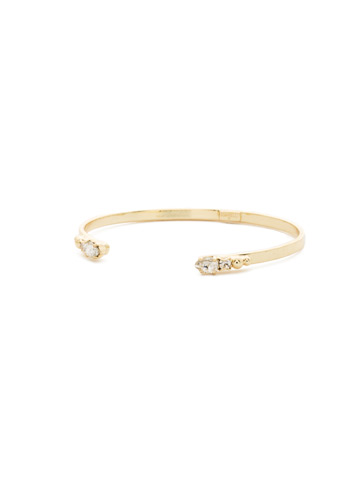 Simple Styling Open Cuff Bracelet in Bright Gold-tone Crystal