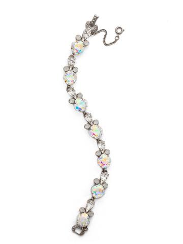 Sparkling Siren Line Bracelet in Antique Silver-tone White Bridal