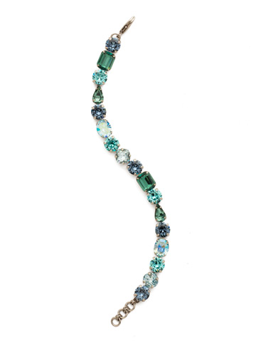 Clover Classic Line Bracelet in Antique Silver-tone Blue Suede