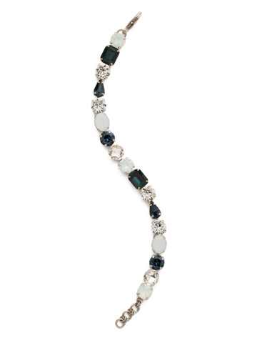 Clover Classic Line Bracelet in Antique Silver-tone Glory Blue