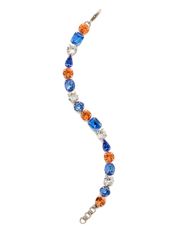 Clover Classic Line Bracelet in Antique Silver-tone Orange Crush