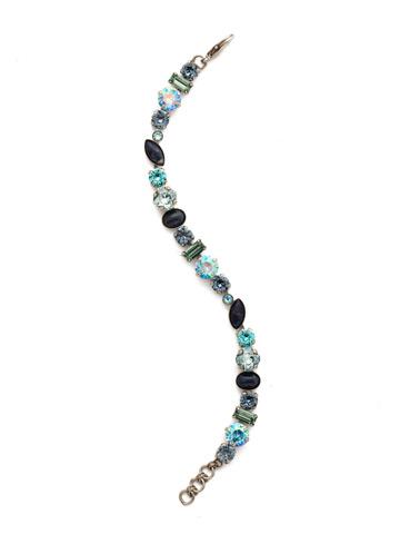 Constantia Bracelet in Antique Silver-tone Blue Suede