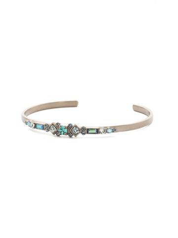 Briar Bracelet in Antique Silver-tone Blue Suede