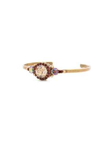 Embellished Rivoli Bracelet in Antique Gold-tone Go Garnet
