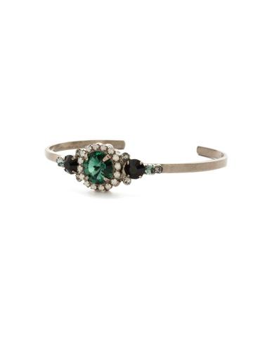 Embellished Rivoli Bracelet in Antique Silver-tone Game Day Green