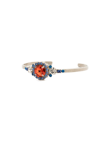 Embellished Rivoli Bracelet in Antique Silver-tone Orange Crush