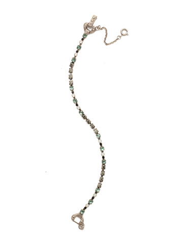 The Skinny Bracelet in Antique Silver-tone Game Day Green