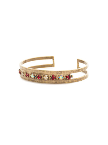 Hammered Metal and Crystal Cuff in Antique Gold-tone Go Garnet