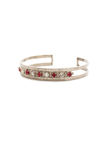 Hammered Metal and Crystal Cuff in Antique Silver-tone Crimson Pride