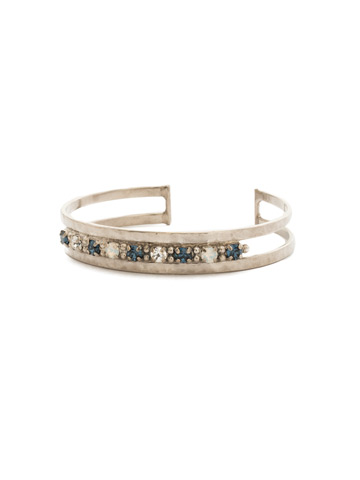 Hammered Metal and Crystal Cuff in Antique Silver-tone Glory Blue