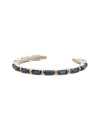 Boho Baguette Cuff Bracelet in Antique Silver-tone Battle Blue