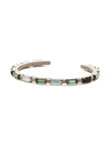 Boho Baguette Cuff Bracelet in Antique Silver-tone Game Day Green