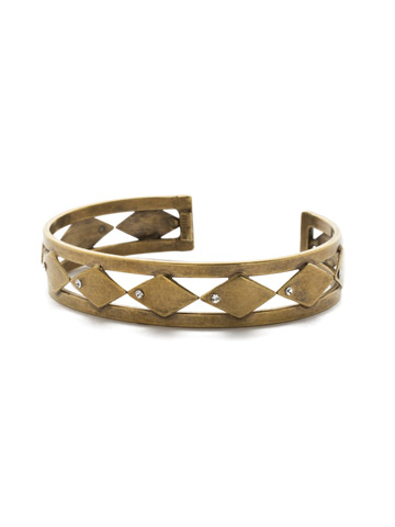 Don't Stop Tri-ing Cuff Bracelet in Antique Gold-tone Crystal