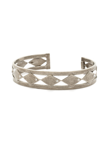 Don't Stop Tri-ing Cuff Bracelet in Antique Silver-tone Crystal
