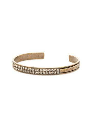 All Lined Up Cuff Bracelet in Antique Gold-tone Crystal