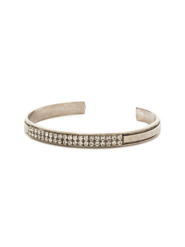 All Lined Up Cuff Bracelet in Antique Silver-tone Crystal