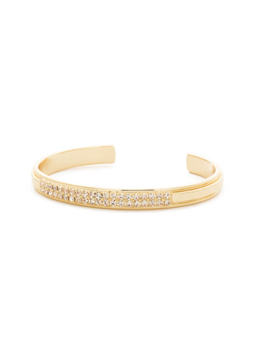 All Lined Up Cuff Bracelet in Bright Gold-tone Crystal