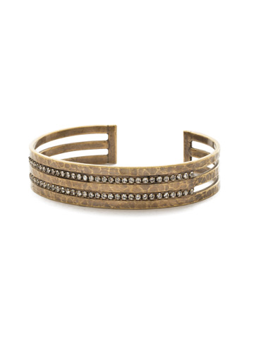 Different Layers Cuff Bracelet in Antique Gold-tone Crystal
