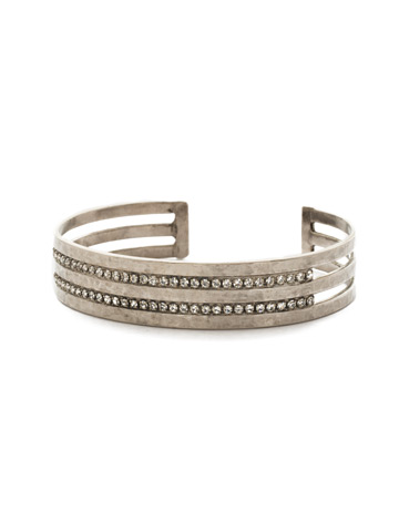Different Layers Cuff Bracelet in Antique Silver-tone Crystal