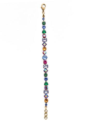 Sedge Classic Line Bracelet in Antique Gold-tone Game of Jewel Tones