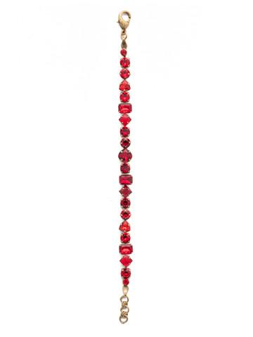 Sedge Classic Line Bracelet in Antique Gold-tone Sansa Red