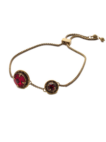 Dua Slider Bracelet in Antique Gold-tone Go Garnet