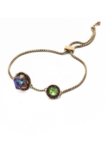 Dua Slider Bracelet in Antique Gold-tone Iris Bloom