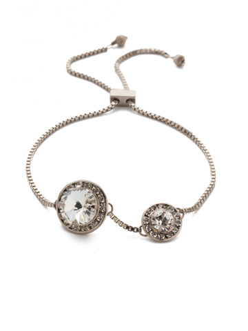 Dua Slider Bracelet in Antique Silver-tone Crystal