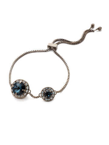 Dua Slider Bracelet in Antique Silver-tone Glory Blue