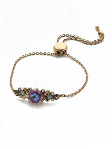 Rosina Slider Bracelet in Antique Gold-tone Iris Bloom